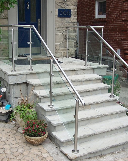 Glass Exterior Railing Contemporary Staircase
