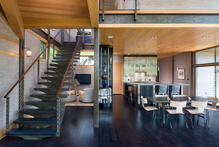 Glass House On The Pond Contemporary Staircase