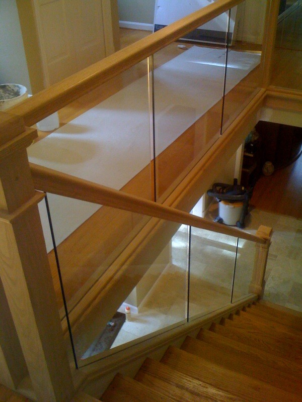 Glass Panels In Wood Frame Modern Staircase Dc Metro By The Stair Guys Llc