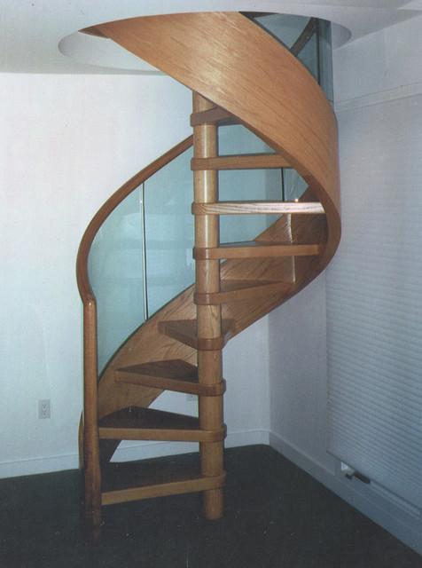 Glass Railing Oak Spiral Staircase Contemporary  : contemporary staircase from www.houzz.com size 476 x 640 jpeg 74kB