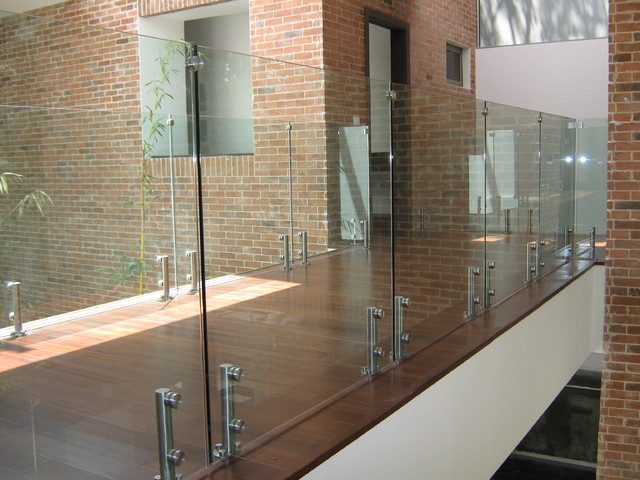 Glass railings contemporary staircase tampa by for Modern glass railing