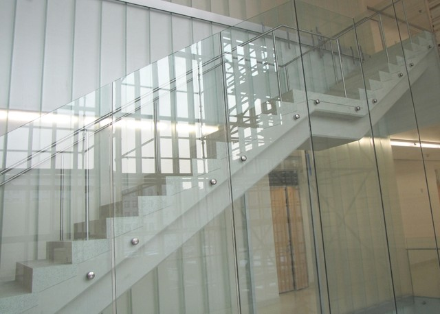 Glass Railings With Partition Contemporary Staircase