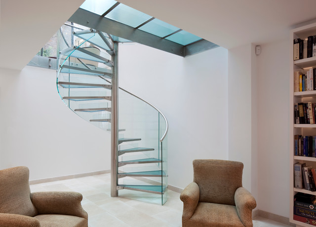 Glass spiral staircase contemporary staircase toronto by eestairs america inc - Modern interior design with spiral stairs contemporary spiral staircase design ...