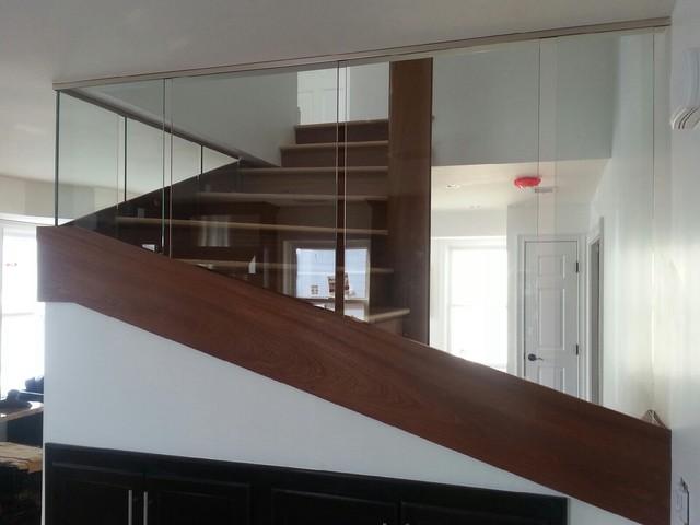 Glass stair railing modern-staircase
