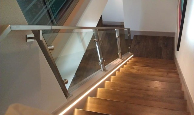 glass stair railing contemporary staircase orange county by style bath enclosures. Black Bedroom Furniture Sets. Home Design Ideas