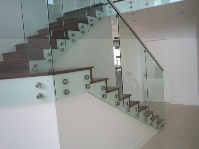 Perfect Glass Stair Railings With Standoffs Contemporary Staircase