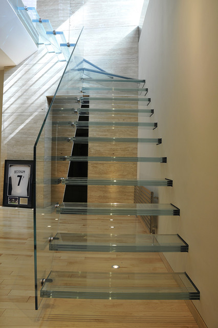 Glass staircase modern-staircase