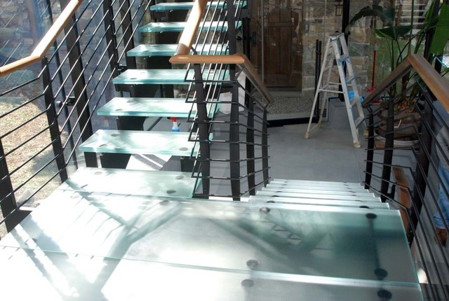 Glass Treads & Flooring contemporary-staircase
