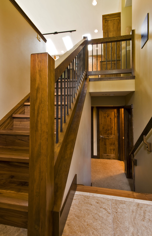 Inspiration for a contemporary staircase remodel in Calgary