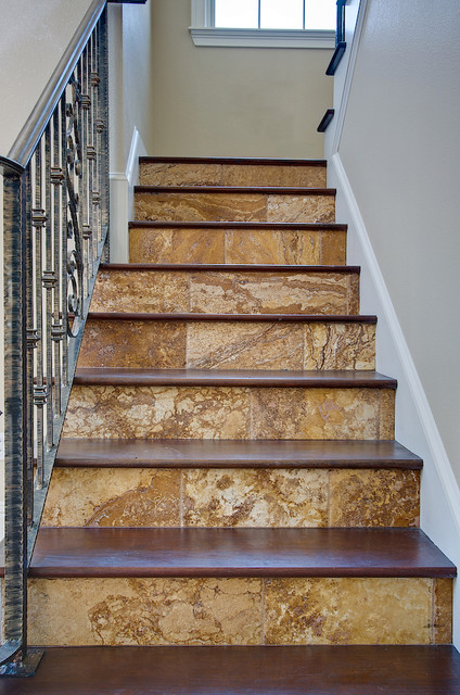 Gold Travertine Tiles Traditional Staircase Tampa
