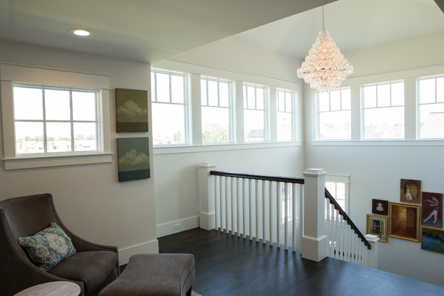 Staircase - large transitional wooden u-shaped wood railing staircase idea in Other with wooden risers