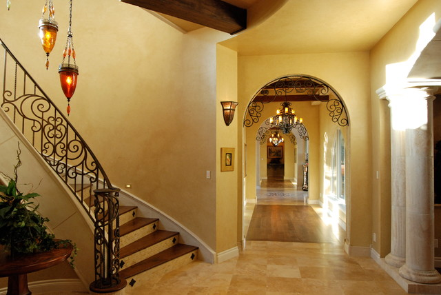 Gorgeous Transitional Tuscan home in Boerne's Hill Country mediterranean-staircase