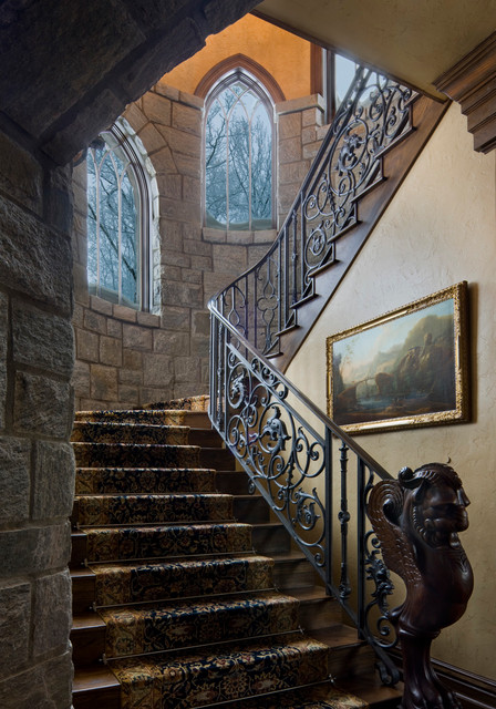 Gothic castle in the blue ridge mountains traditional Ranch style staircase