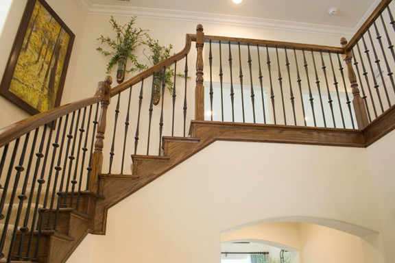 Gothic Hammered Iron Balusters traditional-staircase