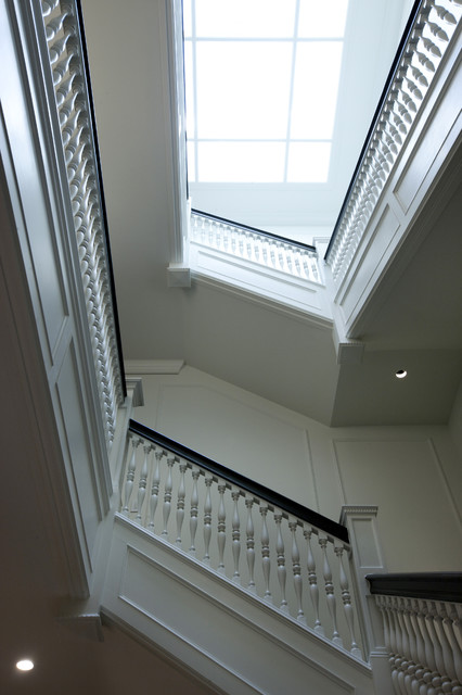 Grand Stair & Skylight transitional-staircase