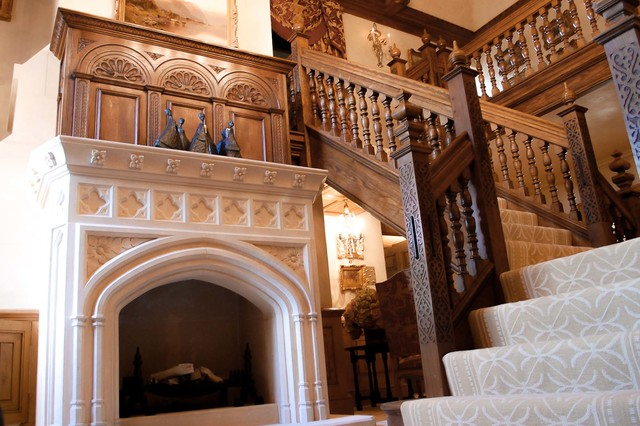 Grand tudor style entrance hall traditional staircase for Tudor fireplaces