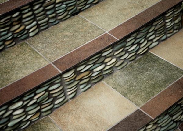 Elegant Green Standing Pebble Tile Staircase Riser Modern Staircase