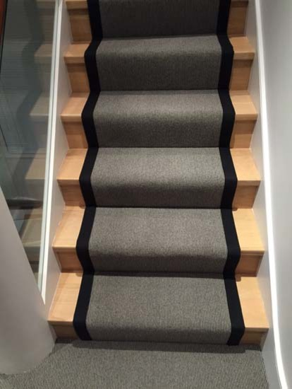 Grey Carpet Stair Runner With Black Border Contemporary Staircase