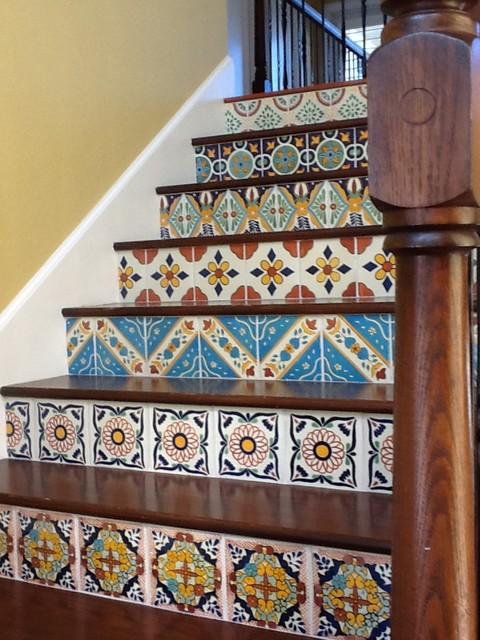 Attrayant Hacienda Staircase Risers Mediterranean Staircase