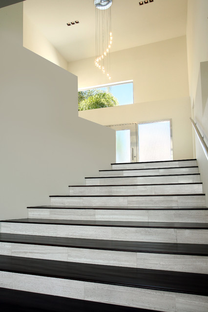 Haisa Light Polished Marble Stair Risers Modern Staircase
