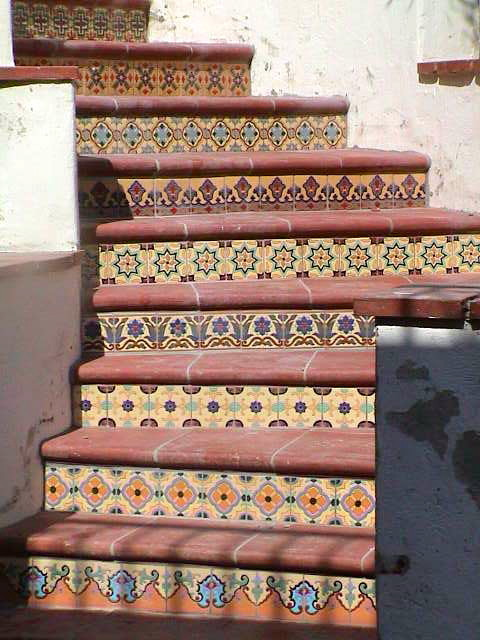 Marvelous Hand Painted Decorative Ceramic Stair Risers Mediterranean Staircase