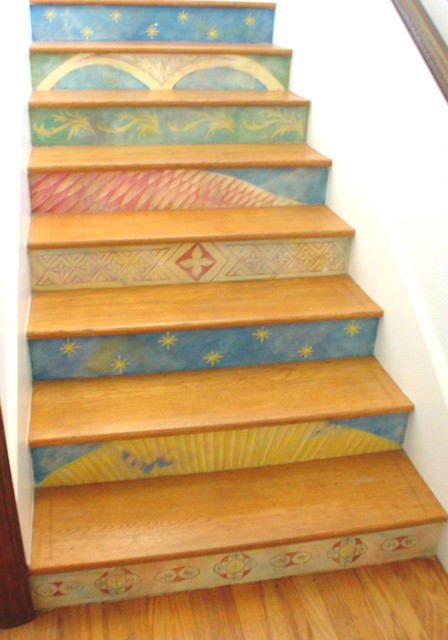 Hand painted Stair Risers Eclectic Staircase Los