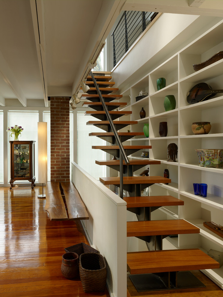 Example of a trendy straight staircase design in Philadelphia