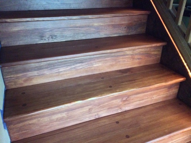 Heart Pine Stairs Finished With Osmo Wood Wax In Mahogany  Traditional Staircase