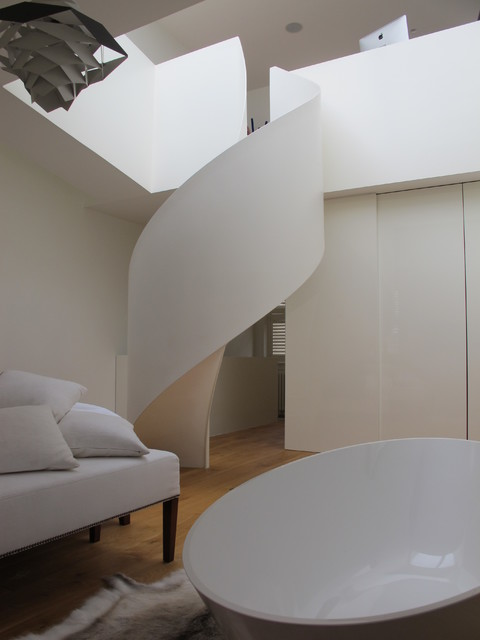 Helical shell type staircase contemporary-staircase