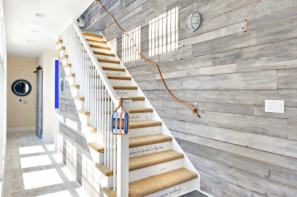 Staircase - beach style carpeted staircase idea in Philadelphia