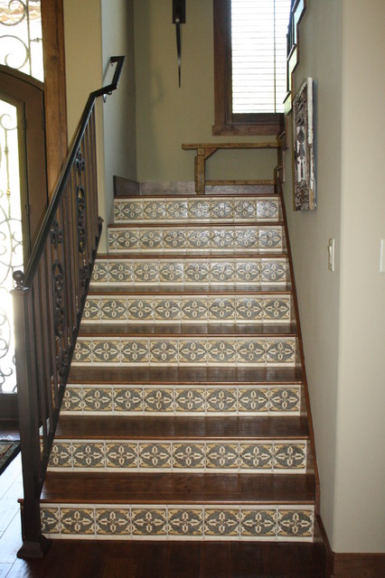 Hickory Stairs With Mosaic Tile Risers Traditional