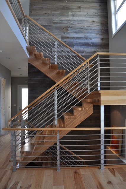 Hickory with Horizontal Stainless 2 Contemporary  : contemporary staircase from www.houzz.com size 426 x 640 jpeg 87kB