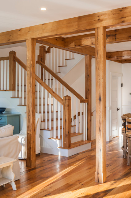 Hillside Barn Farmhouse Staircase Portland Maine