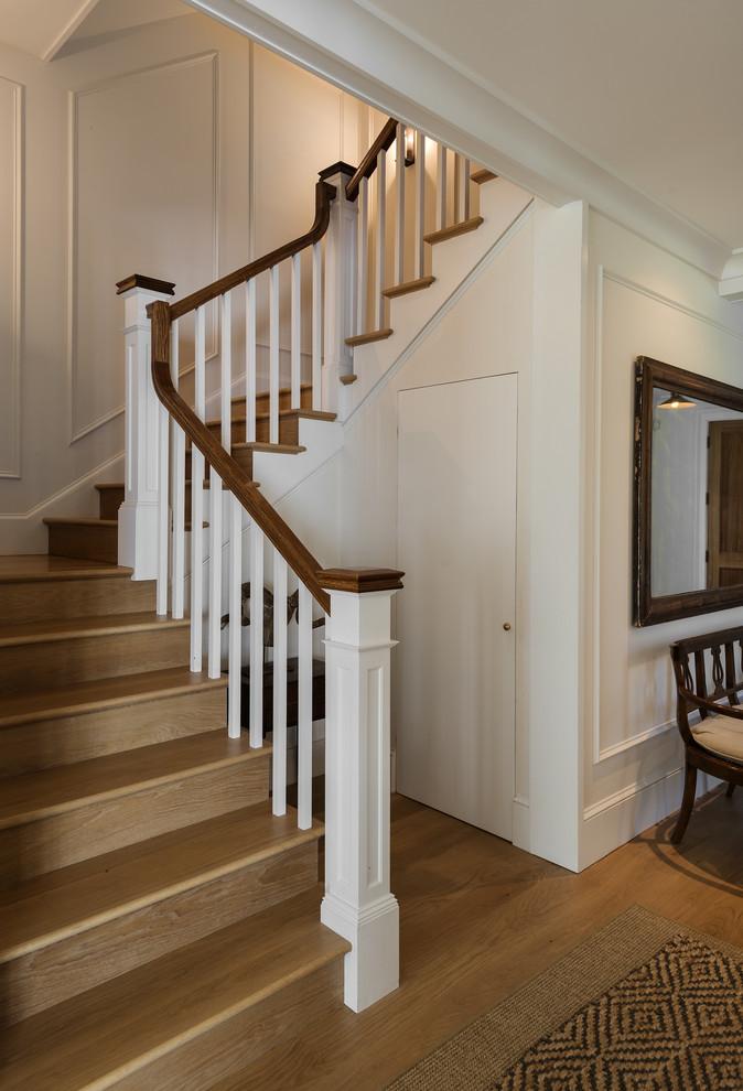 Staircase - farmhouse staircase idea in New York