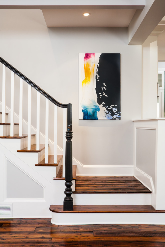 Inspiration for a timeless wooden staircase remodel in Atlanta with painted risers