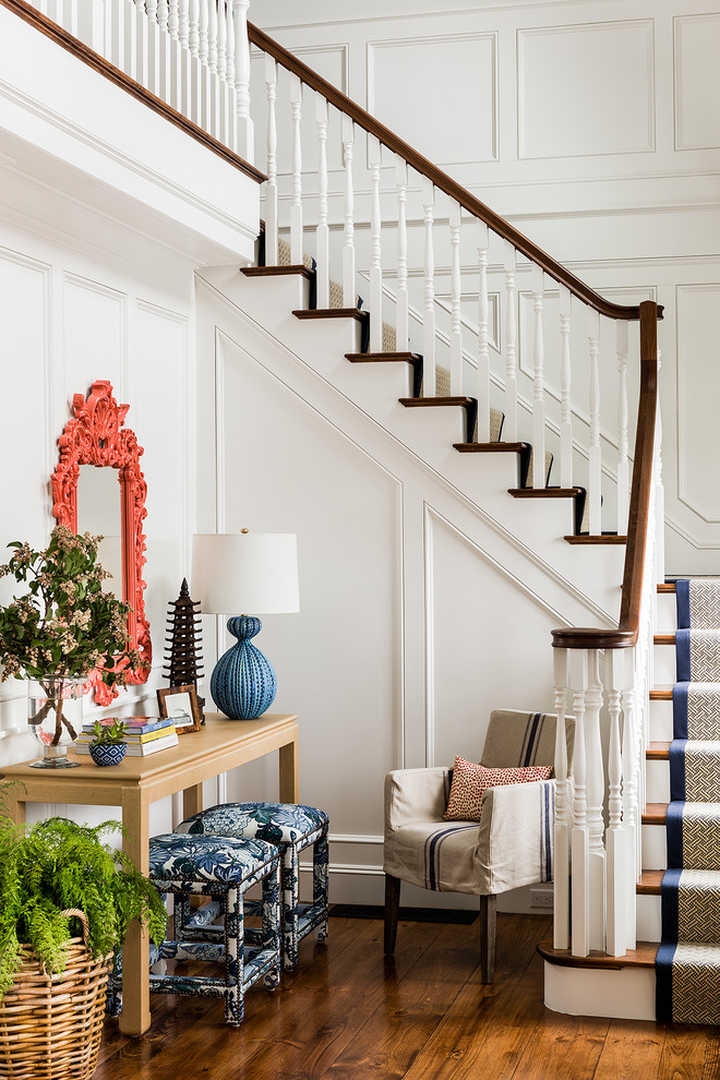 Staircase - victorian wooden l-shaped staircase idea in Boston with painted risers