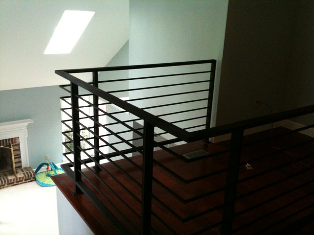Horizontal Painted Steel Railing Contemporary