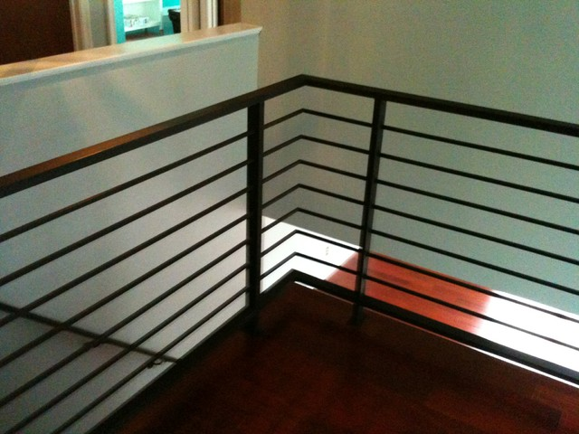 Horizontal Railing Contemporary Staircase
