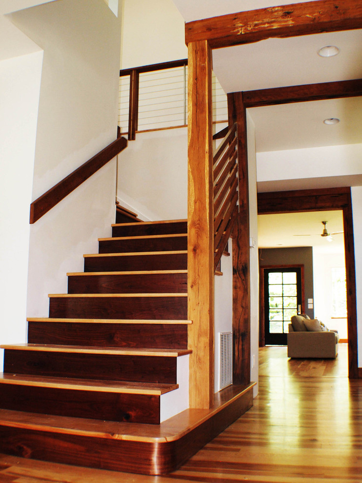 Inspiration for a modern staircase remodel in Other