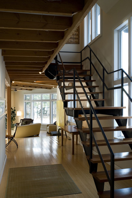 Hudson Valley Retreat industrial-staircase
