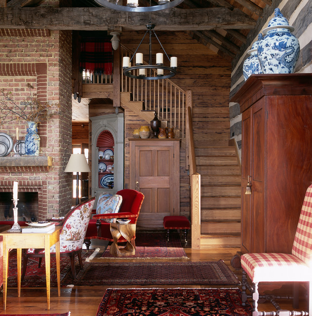 Hunting lodge oxford maryland rustic staircase dc for Hunting cabin interior designs