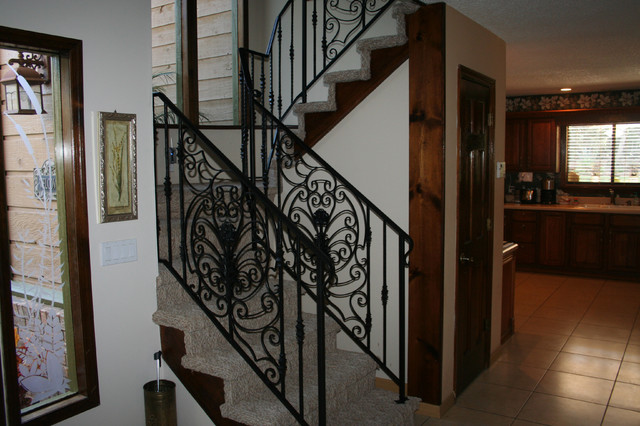 Interior Custom Ornamental Iron Stair Rail With Custom Design Panels  Traditional Staircase