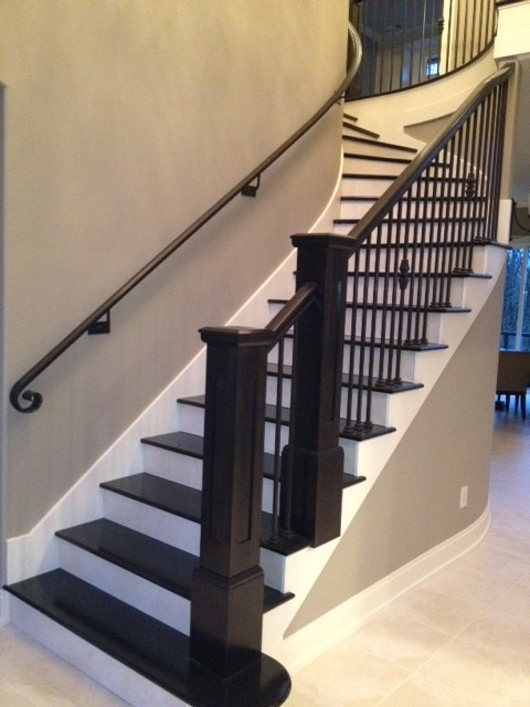 Merveilleux Interior Transitional Staircase With Wrought Iron Balusters