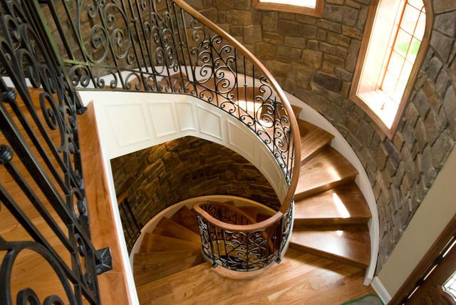 Interior Walls With Pinnacle Stone Veneer Mediterranean Staircase Philadelphia By