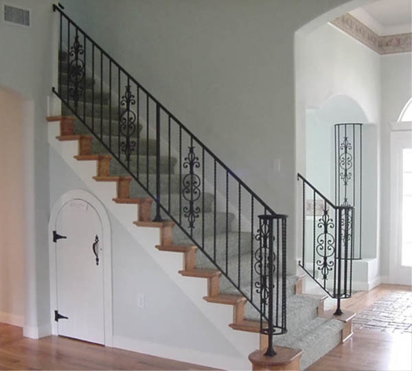 Interior Wrought Iron Stair Rail And Column Cover With Lateral Scroll Ending