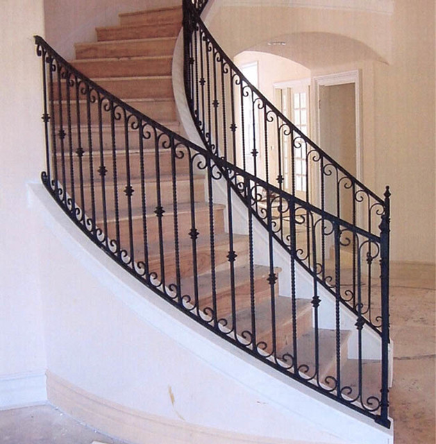 Interior Wrought Iron Stair Rails With Newel Posts, Baluster Collars,  Twisted Pi Mediterranean
