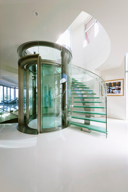 Interiors contemporary staircase for Modern home elevators