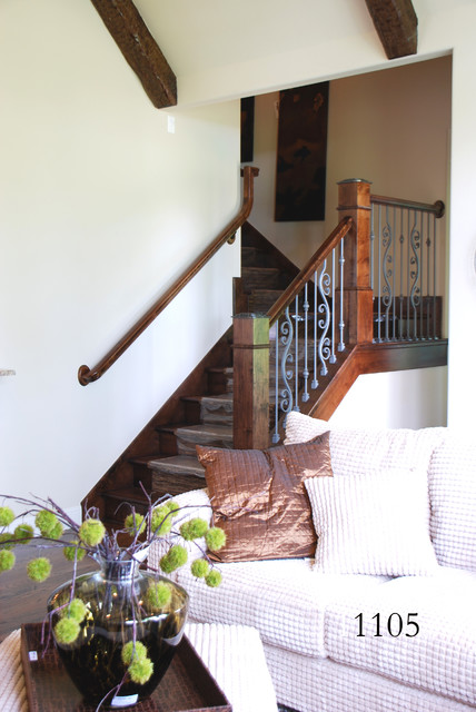 Iron Box Newel Tops eclectic-staircase