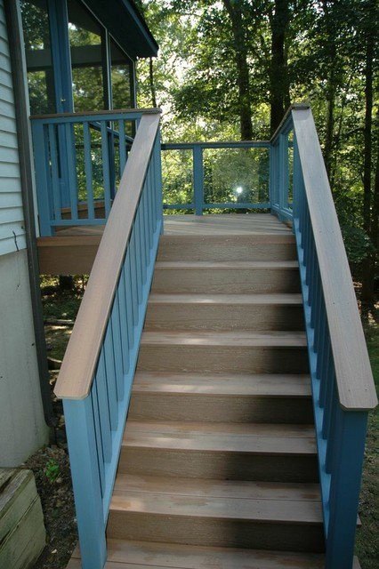 Ivoryton, CT stunning screened porch and deck combination traditional-staircase