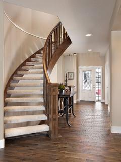 Jagare Ridge Buena Vista Showhome Transitional Staircase Edmonton By Kimberley Homes